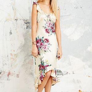 Vintage Floral Champagne Maxi Dress